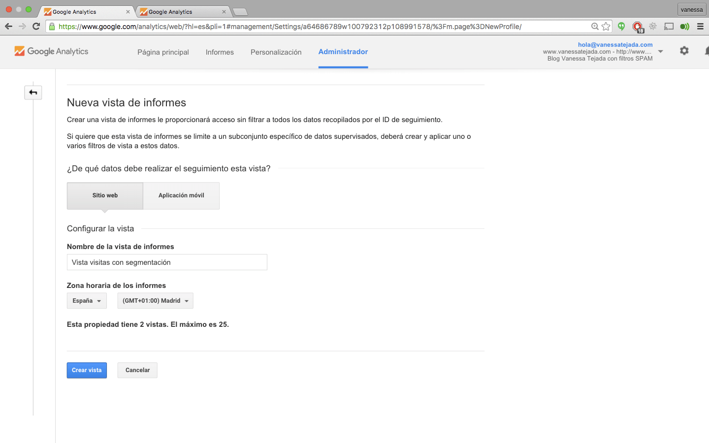 google analytics vista filtros