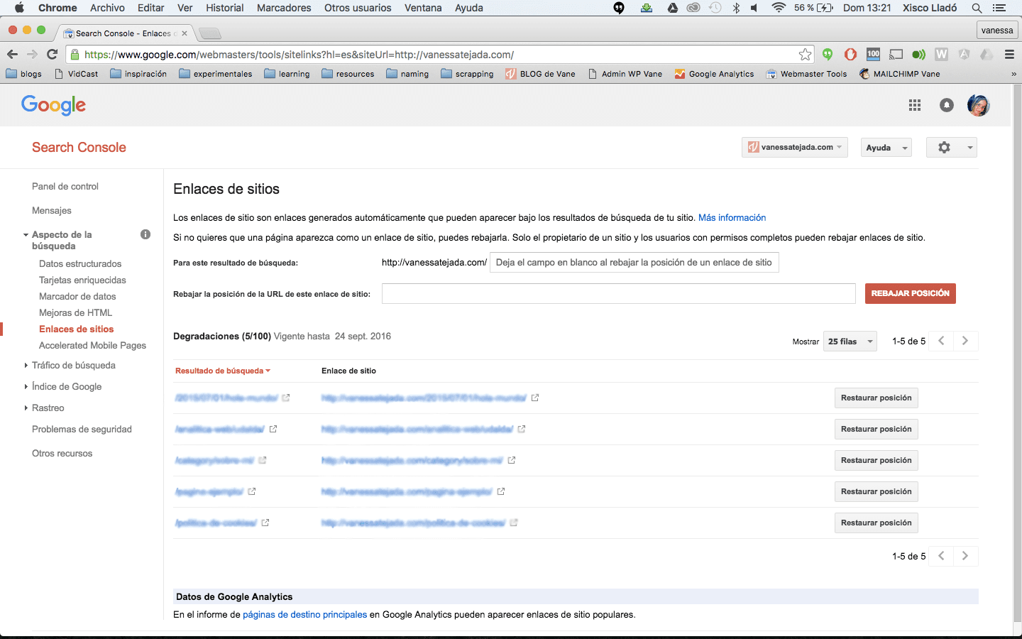enlaces de sitio webmaster tools